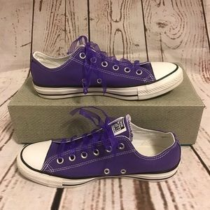 Purple Converse with Lace Ribbon Laces Size 10